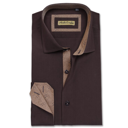 Stylish white striped button down shirt by andre emilio for Mens chocolate brown shirt